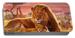 Kilimanjaro Male Lion With Cubs Portable Battery Charger
