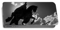 King Horseback Statue Black White Portable Battery Charger