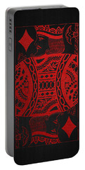 King Of Diamonds In Red On Black Canvas   Portable Battery Charger