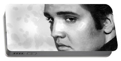 King Of Rock Elvis Presley Black And White Portable Battery Charger by Georgi Dimitrov