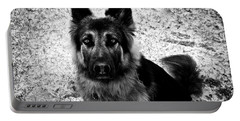 King Shepherd Dog - Monochrome  Portable Battery Charger