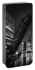 Kinzie Street Railroad Bridge At Night In Black And White Portable Battery Charger