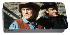 Portable Battery Charger featuring the photograph Kirk Douglas Johnny Cash A Gunfight  Old Tucson Arizona 1971 by David Lee Guss