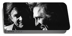 Portable Battery Charger featuring the photograph Kirk Douglas Laughing Johnny Cash Old Tucson Arizona 1971 by David Lee Guss