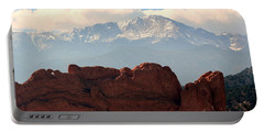 Kissing Camels Against Pikes Peak Portable Battery Charger by Clarice  Lakota