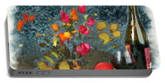 Kitchen - Peaches And Wine Painting  Portable Battery Charger