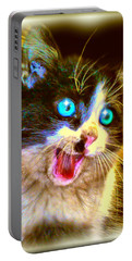 Portable Battery Charger featuring the painting Kitten by Daniel Janda