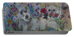 Kittens In Wildflowers Portable Battery Charger by Avonelle Kelsey