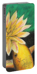 Portable Battery Charger featuring the painting Koi And The Lotus Flower by Jeanne Fischer