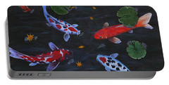 Portable Battery Charger featuring the painting Koi Fishes Original Acrylic Painting by Georgeta  Blanaru