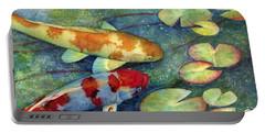 Koi Garden Portable Battery Charger by Hailey E Herrera