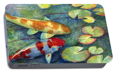 Koi Garden Portable Battery Charger by Hailey E Herrera