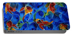 Koi Pond 2 - Liquid Fish Love Art Portable Battery Charger by Sharon Cummings