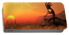 Portable Battery Charger featuring the digital art Kokopelli Sunset by Daniel Eskridge