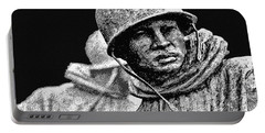 Portable Battery Charger featuring the painting Korean War Veterans Memorial by Bob and Nadine Johnston