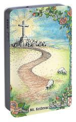 Portable Battery Charger featuring the drawing Krizevac - Cross Mountain by Christina Verdgeline