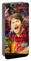 Portable Battery Charger featuring the painting Kyle Hollingsworth At Hornin'gs Hideout by Joshua Morton
