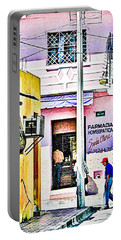 Portable Battery Charger featuring the photograph La Farmacia by Jim Thompson