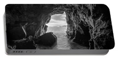 La Jolla Cave Bw Portable Battery Charger by Michael Ver Sprill