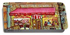 La Patisserie De Nancy French Pastry Boulangerie Paris Style Sidewalk Cafe Paintings Cityscene Art C Portable Battery Charger