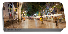 La Rambla At Night  In Barcelona Portable Battery Charger