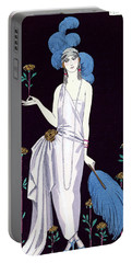'la Roseraie' Fashion Design For An Evening Dress By The House Of Worth Portable Battery Charger by Georges Barbier