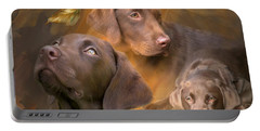 Lab In Autumn Portable Battery Charger by Carol Cavalaris