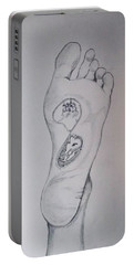 Portable Battery Charger featuring the drawing Labyrinth Foot Pie Laberinto by Lazaro Hurtado