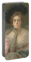 Lady In Pink Portable Battery Charger by Joseph W Gies