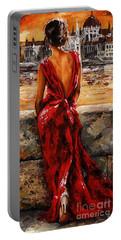 Lady In Red  34 -  I Love Budapest Portable Battery Charger
