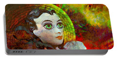 Portable Battery Charger featuring the mixed media Lady In Red by Ally  White