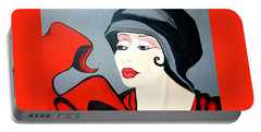 Lady In Red  Art Deco Portable Battery Charger