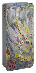 Portable Battery Charger featuring the painting Lady In The Waterfall by Avonelle Kelsey