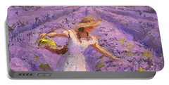 Woman Picking Lavender In A Field In A White Dress - Lady Lavender - Plein Air Painting Portable Battery Charger