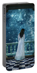 Lady On Balcony At Night Portable Battery Charger