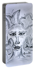 Portable Battery Charger featuring the drawing Lady Queen Of Butterflies by Ramona Matei