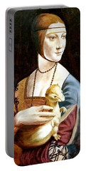 Portable Battery Charger featuring the painting Lady With An Ermine by Henryk Gorecki