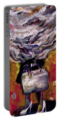 Lady With Suitcase And Storm Cloud Portable Battery Charger