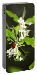 Ladybug And Flowers Portable Battery Charger by Christina Rollo