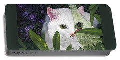 Portable Battery Charger featuring the painting Ladybugs And Cat by Karen Zuk Rosenblatt