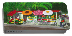 Laguna Beach Flower Stand Portable Battery Charger by Mike Robles