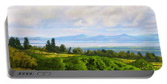 Portable Battery Charger featuring the painting Lake Naivasha From Home by Anthony Mwangi