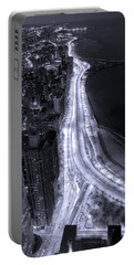 Lake Shore Drive Aerial  B And  W Portable Battery Charger by Steve Gadomski