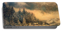 Portable Battery Charger featuring the painting Lake Tahoe Winter Colors 2 by Donna Tucker