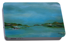 Portable Battery Charger featuring the painting Lake Wallenpaupack Early Morning by Judith Rhue