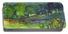 Landscape Lakeway Texas Watercolor Painting By Kmcelwaine Portable Battery Charger
