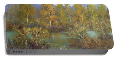 Landscape River And Trees Paintings Portable Battery Charger
