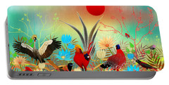 Landscapes With Birds And Red Sun - Limited Edition Of 15 Portable Battery Charger