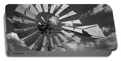 Large Windmill In Black And White Portable Battery Charger