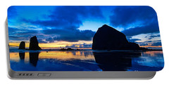 Last Light - Cannon Beach Sunset With Reflection In Oregon The Coast Portable Battery Charger